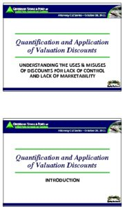 Icon of CLE-Slides Quantification & Application of Valuation Discounts