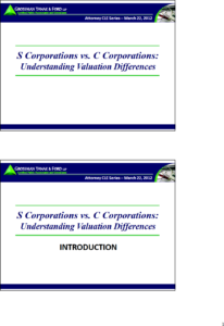 Icon of CLE-Slides S vs. C Corp Valuation Differences