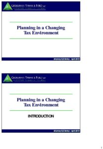 Icon of CLE-Slides Planning in a Changing Tax Environment