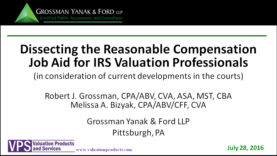 valuation, grossman yanak & ford LLP, cpas, pittsburgh