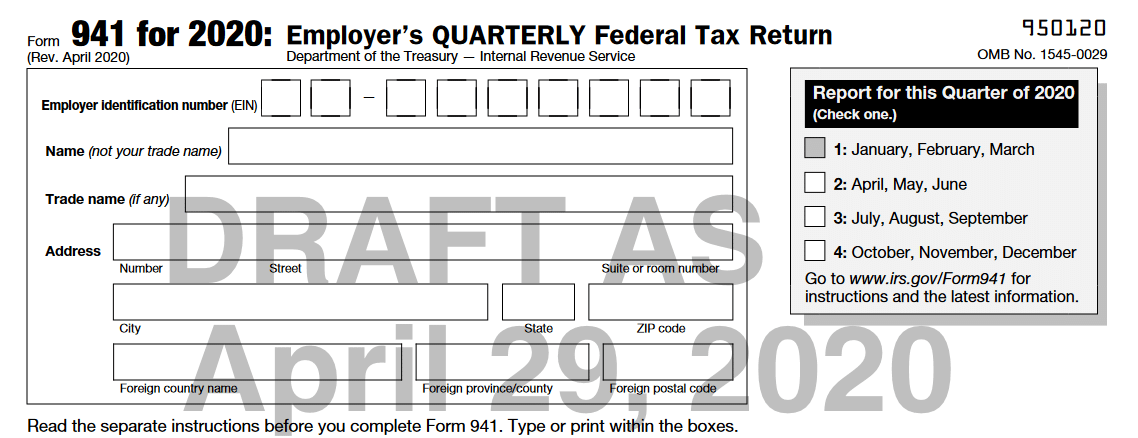 Irs Issues Draft Form 941 And Instructions Gyf